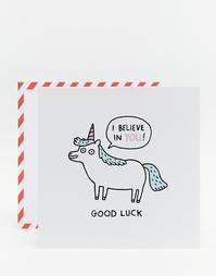 Открытка с единорогом и пожеланием удачи Ohh Deer Gemma Correll