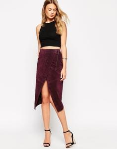 Замшевая юбка-карандаш с запахом и D-образной пряжкой ASOS