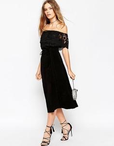 Замшевая юбка миди с поясом ASOS - Черный