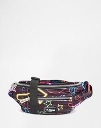 Сумка-кошелек на пояс с принтом неоновых знаков Jaded London - Черный