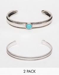 Набор фактурных браслетов с полудрагоценным камнем ASOS - Серебряный