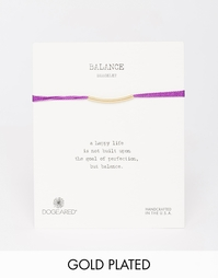 Фиолетовый шелковый браслет с позолоченной трубочкой Dogeared Balance