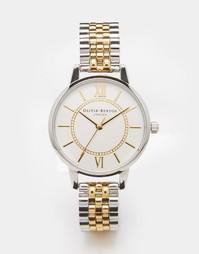 Серебристые с золотистым часы-браслет Olivia Burton Wonderland