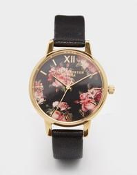 Часы с черным кожаным ремешком Olivia Burton Winter Garden - Черный