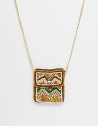 Ожерелье с расшитым мини-кошельком ASOS - Мульти