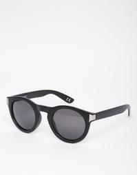Солнцезащитные очки в толстой круглой оправе матового черно-серого цве Asos