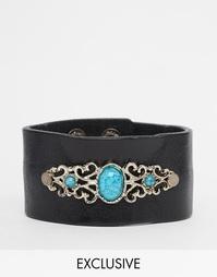 Кожаный браслет с камнями Reclaimed Vintage - Коричневый
