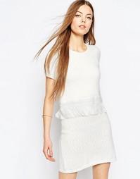 Короткое трикотажное приталенное платье в два слоя с бахромой ASOS