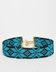 Ожерелье-чокер из бусин ASOS - Синий