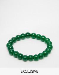 Зеленый браслет из бусин Reclaimed Vintage Lava - Зеленый