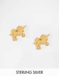 Позолоченные серьги-гвоздики в виде единорогов Dogeared - Золотой