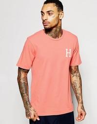Футболка с логотипом на спине HUF - Розовый