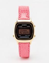 Цифровые часы с розовым кожаным ремешком Casio LA670WEGL-4AEF