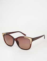 Солнцезащитные очки кошачий глаз с золотистой отделкой Esprit