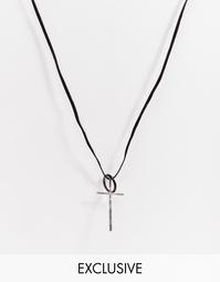 Кожаное ожерелье с крестом Reclaimed Vintage - Черный