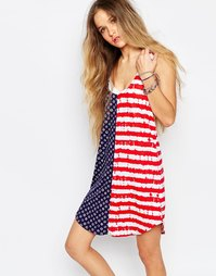 Платье-майка с открытой спиной и принтом в цветах американского флага Vans