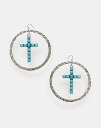 Большие серьги-кольца с крестиками ASOS - Античный серебряный