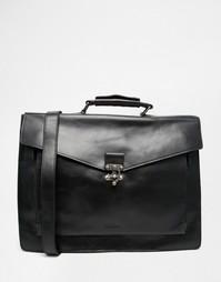 Черный кожаный портфель Royal RepubliQ Conductor - Черный