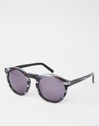 Черные солнцезащитные очки в круглой оправе из ацетата ручной работы D Dark Future