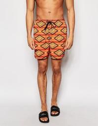 Оранжевые шорты для плавания с принтом в ромбик O'Neil - Красный O'neill