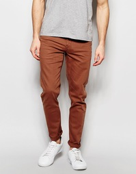 Зауженные джинсы красно-бурого цвета ASOS - Коричневый