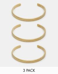 Набор из трех браслетов-манжет Made - Золотой