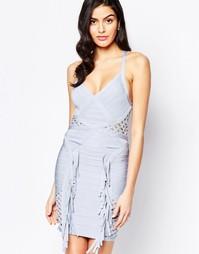 Бандажное платье с сетчатыми вставками и бахромой Forever Unique Cosmo
