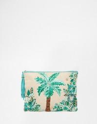 Клатч с вышитыми пальмами Star Mela - Естественный