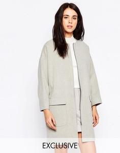 Светло-серое пальто на молнии спереди Helene Berman - Светло-серый