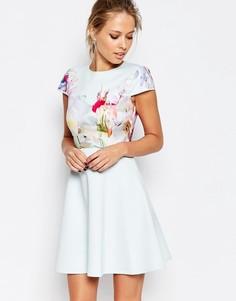 Короткое приталенное платье Ted Baker Hanging Gardens - Мятный