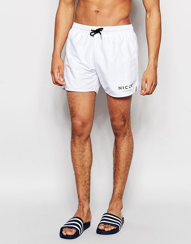 Белые пляжные шорты с логотипом Nicce - Белый