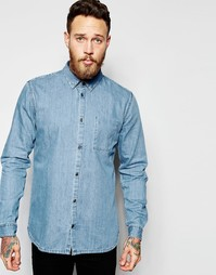 Голубая джинсовая рубашка классического кроя Dr Denim Mick