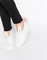 Белые кожаные кроссовки с кроличьими ушками и хвостиком Minna Parikka