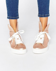 Высокие кроссовки с кроличьими ушами Minna Parikka - Розовое золото