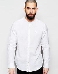 Льняная рубашка с воротником на пуговице Hilfiger Denim - Белый