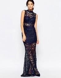 Ажурное платье макси с высоким воротом Club L - Темно-синий