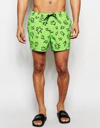 Неоново-зеленые короткие шорты для плавания ASOS - Зеленый