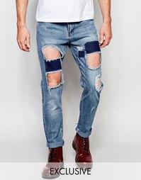 Прямые потертые джинсы стираного синего цвета Liquor & Poker