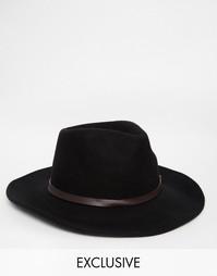 Шерстяная шляпа с кожаной отделкой Reclaimed Vintage - Черный