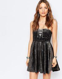 Платье-бандо с эффектом металлик Free People Shattered - Черный