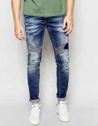 Винтажные узкие джинсы с потертостями Replay Zaldok
