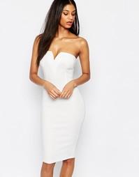 Платье миди без бретелек с глубоким вырезом AX Paris - Кремовый
