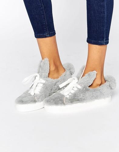 Серые низкие кроссовки под пони с ушками и хвостиком Minna Parrika