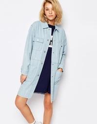 Длинное джинсовое пальто Carhartt - Синий супервыбеленный