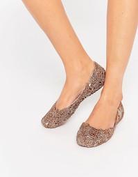 Туфли на плоской подошве с блестящими розочками Melissa