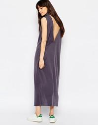 Платье миди с декольте сзади и высокой горловиной Weekday Value