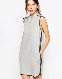 Серое трикотажное платье с контрастной отделкой See By Chloe