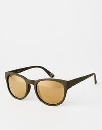 Солнцезащитные очки в толстой круглой оправе цвета хаки ASOS - Хаки