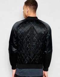 Черная стеганая куртка‑пилот с вышивкой DARK FUTURE - Черный