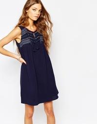 Синее платье с вышивкой Suncoo - 03 bleu nuit
